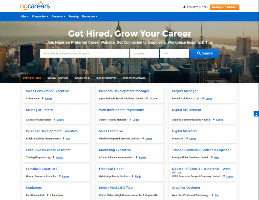 Job employment websites