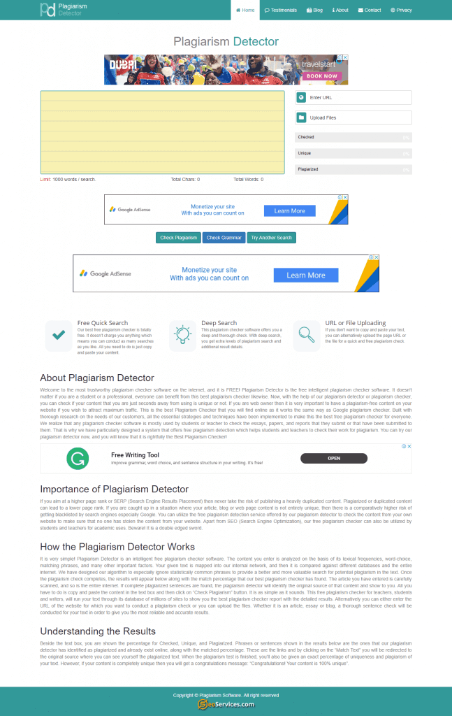 Plagiarism Detector is best free Plagiarism Checker for Students