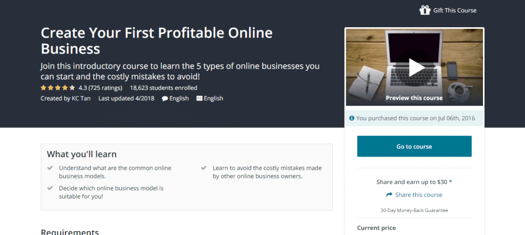 Create Your First Profitable Online Business Udemy