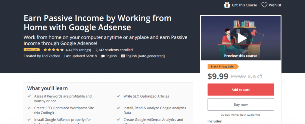 Earn Passive Income by Working from Home with Google Adsense Udemy