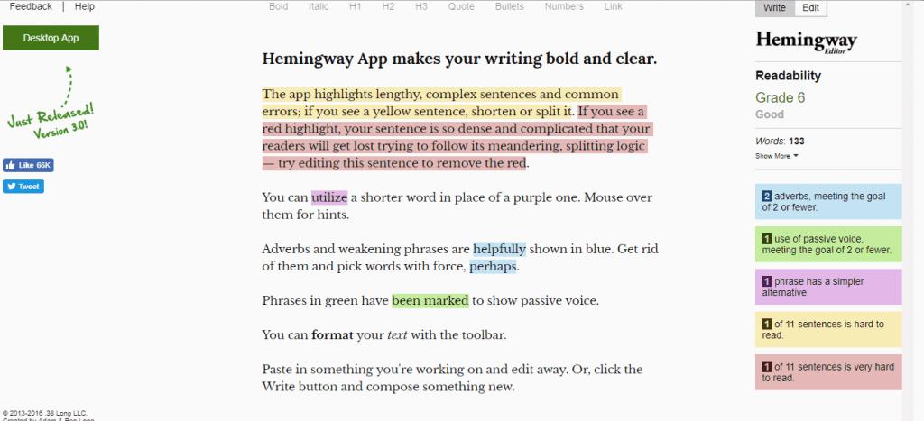 Best Tools for online writers-Hemingway App